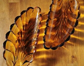 2 Amber leaf glass serving dishes