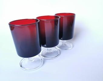 Vintage red liquor glasses set of 3