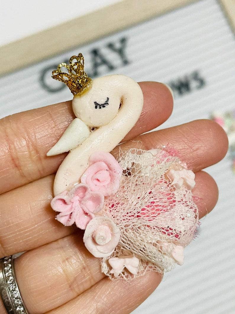Pastel Spring Swan /& Unicorn Long Hair Clay for hair bow center