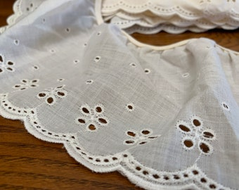 baby 5  yards DIY ruffled eyelet ivory gathered 2 sewing embroidery fabric trim  for couture doll clothes and accessories