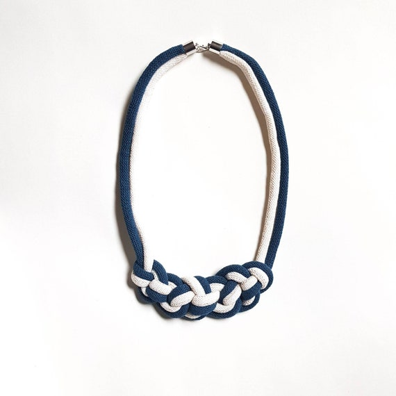 Cotton Rope Necklace, Knotted Necklace, Cream and Blue Woven Necklace, Birthday Gift, Casual Necklace