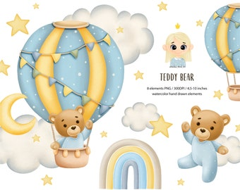 Baby boy clipart, baby bear watercolor clipart, baby shower, It's a boy clipart, woodland nursery clipart, hot air balloon, nursery clipart.