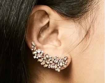 Once Upon A Climb - Ear Climber Earring, Ear Cuff, Ear Jacket, Rhinestone Ear Climber, Crystal Ear Crawler, Bridal Jewelry, Wedding Jewelry