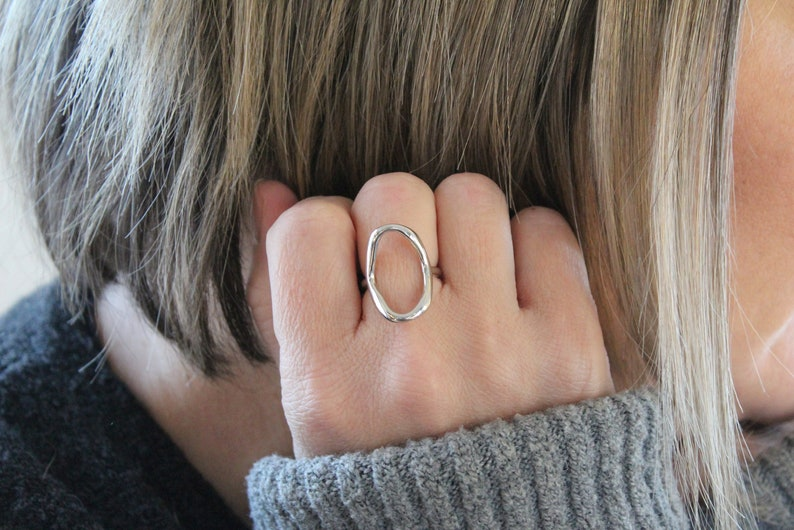 Stocking Stuffer Hollow Oval Ring Adjustable Ring Christmas Present Gift for Her 925 Sterling Silver Ring The Hollow Minimalist Ring