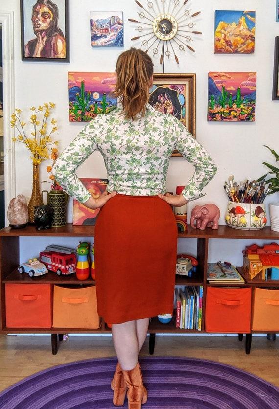 1960's Wool Rust Orange Pencil Skirt - image 5