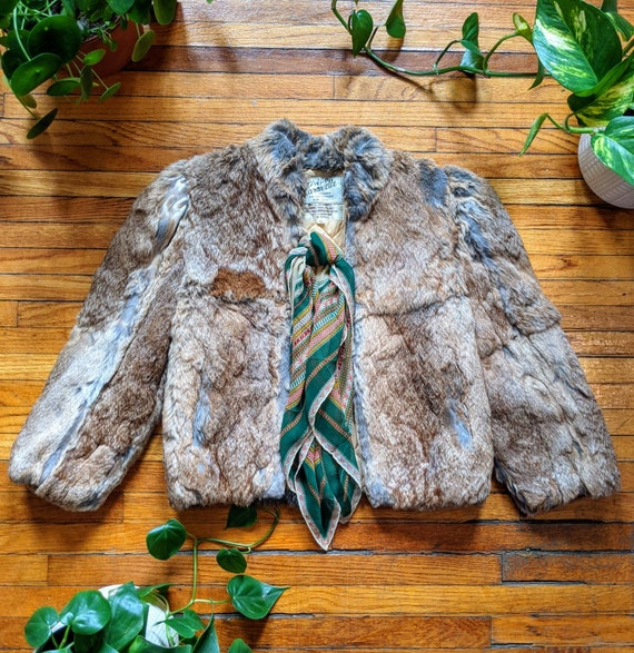Vintage 70s Caravelle Rabbit Fur Winter Coat Size