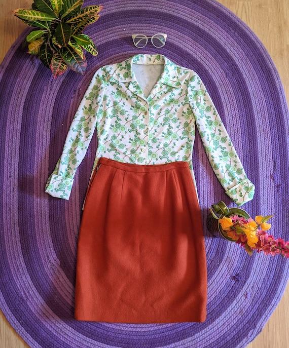 1960's Wool Rust Orange Pencil Skirt - image 2
