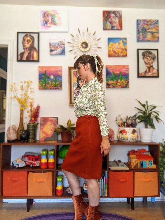 1960's Wool Rust Orange Pencil Skirt - image 7