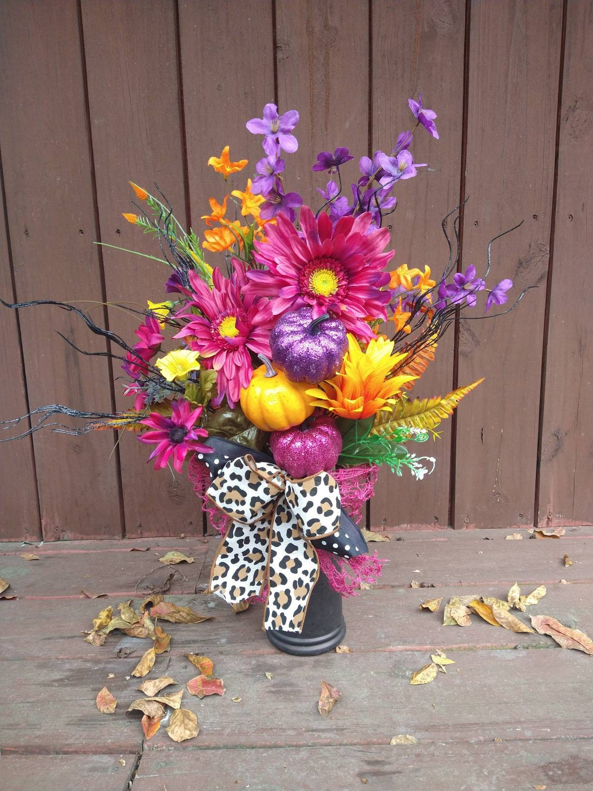 Flowers For Cemeteries Fall Colorful Arrangement For Cemetary Grave Flowers For Daughter Halloween Flower Arrangement For Vase