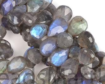 Labradorite Faceted Pear Beads, Labradorite Pear Beads, Labradorite Beads, Labradorite Faceted Beads, Labradorite Pear Side Drill Beads