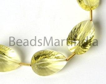 DIY Jewelry Making Beads Earrings Pair Wire Wrapping 2 Pcs 25x10mm Lemon Quartz Concave Cut Pear Briolettes Semiprecious Gemstone