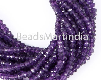 Faceted Amethyst Rondelle Beads, Amethyst Faceted Rondelle Shape Beads, Amethyst Beads, Amethyst 4-5MM
