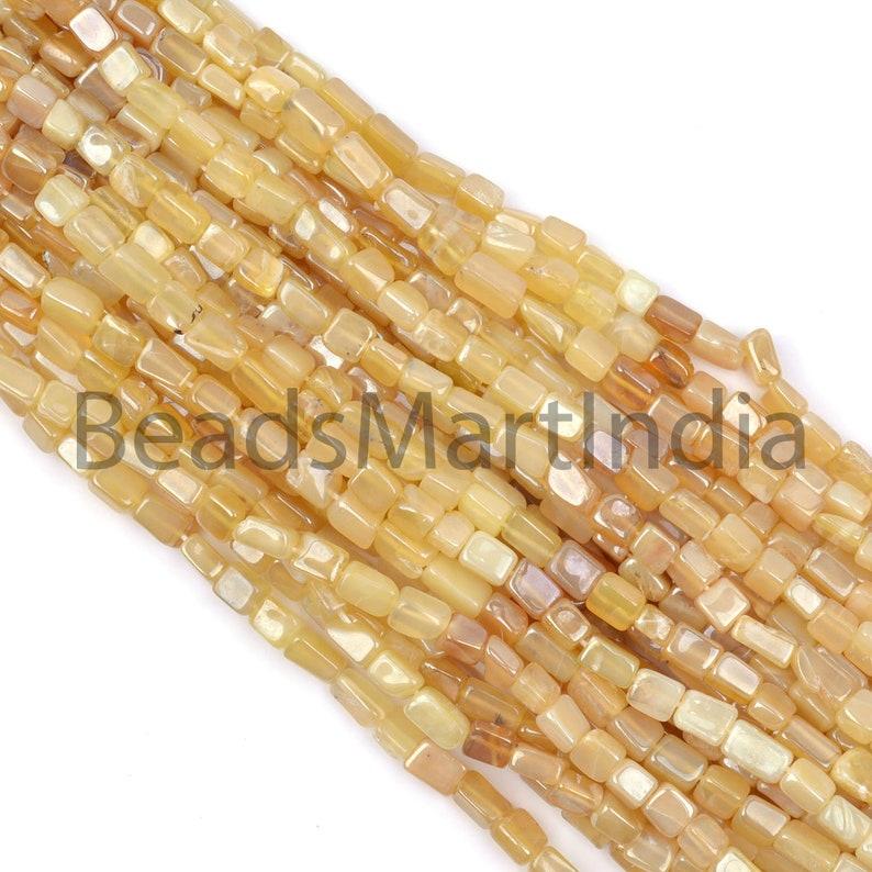 Yellow Opal Plain Long Square Brick Shape Beads,Opal Smooth Beads,Yellow Opal Plain Beads,Yellow Opal Beads,Yellow Opal Square Beads