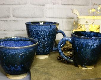 Blue Mugs and Bowl Set