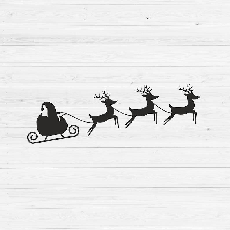 Clipart Silhouette Santa Sleigh SVG Santa Claus Svg Cut File Vector Reindeer Svg Christmas SVG Flying Santa SVG