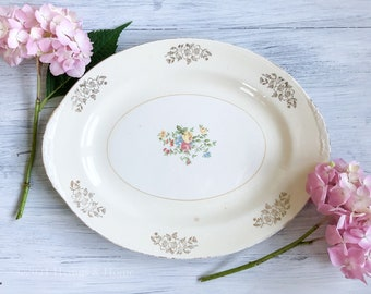Vintage Platter | Homer Laughlin Eggshell Nautilus | Midcentury Vintage China | Cottage Shabby Chic Floral Pattern | 1950s Dinnerware