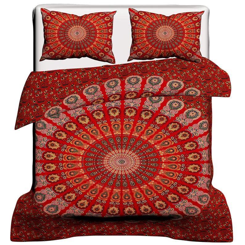Living Room Gift For Him Bedroom Decor Indian Peacock Mandala Duvet Cover Gift for Dad Gift for Mom Gift for Mother/'s day