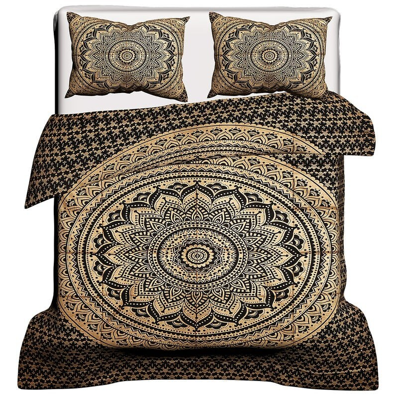 Indian Duvet Cover Bedding Luxury Style Flower Print Queen King Size Quilt Doona Set Hand Block Floral Print Bohemian Soft Comforter Throw