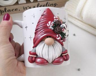 Christmas gnome, Winter gnome Christmas mug, 3d mug,  Custom mug, Gnome decorated