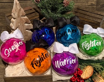String color of Choice Personalized with Name and Year with Gift Box Cancer Ribbon Ornament