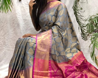 Grey Original Linen saree and blouse for women,wedding saree,indian saree,sari,designer saree,sarees,traditional saree,saris,saree dress