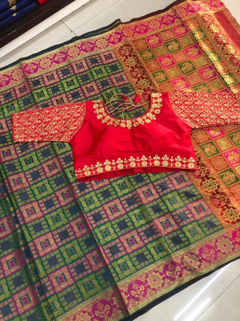 red saree Banarasi silk handloom patola saree and blouse for women,saree dress,wedding saree,indian saree,designer saree,saris,sari