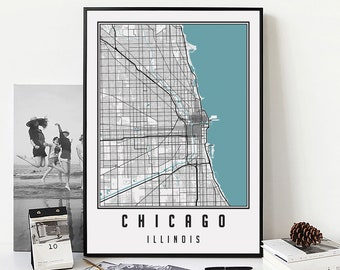 Chicago Map Print, Chicago Wall Art