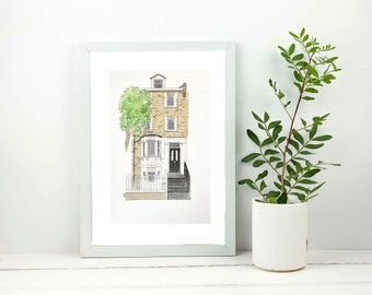 Watercolour House Portrait   Personalised New Home, Wedding Anniversary Gift