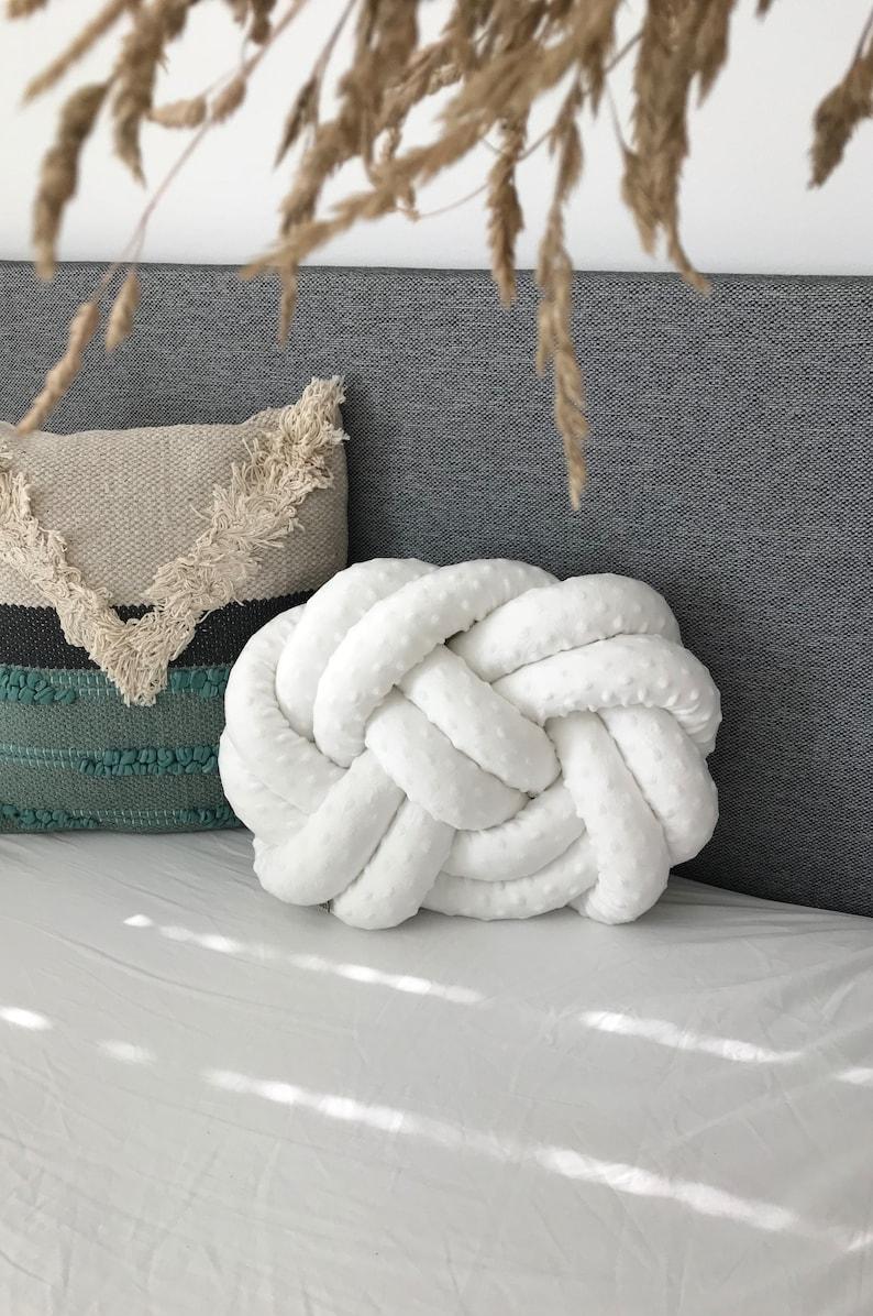 Large  Knot pillow Round knot pillow Infinity knot pillow Decorative Grey Knot cushion \u201cReina\u201d