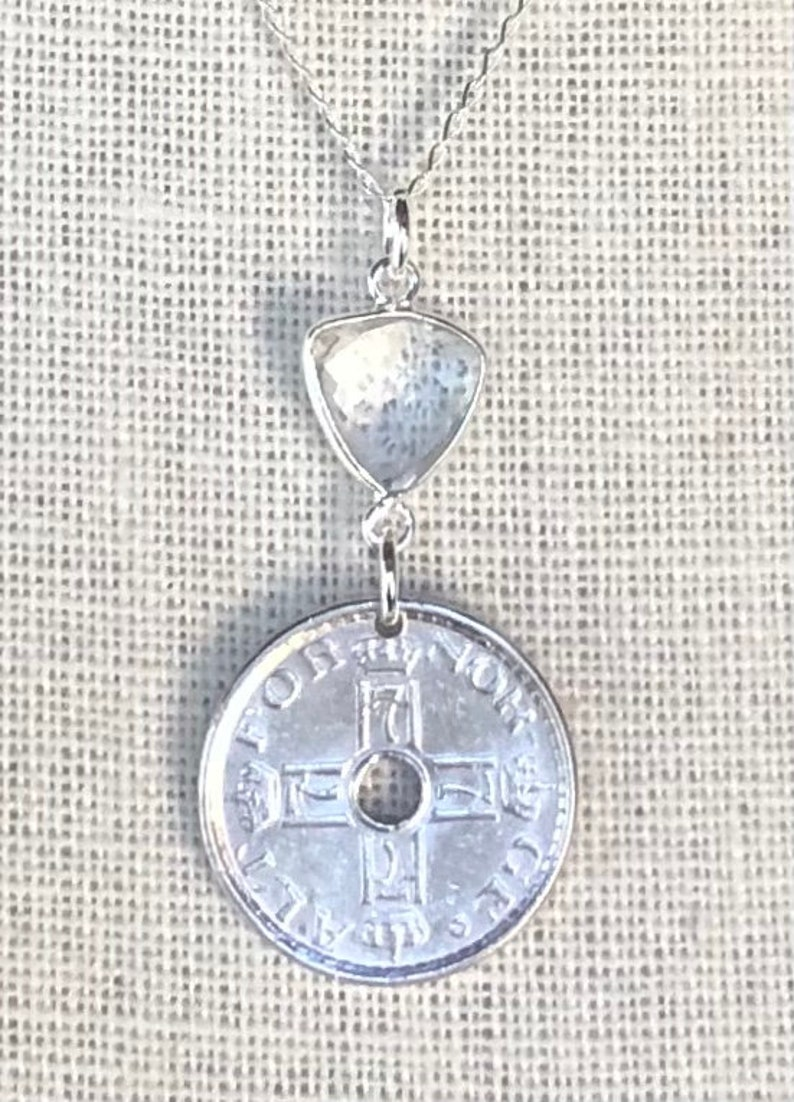 7 within stylized H and crown at top. Vintage 1948 Norway 50 Ore Coin with Natural Crystal on 16\u201d Sterling Silver Necklace