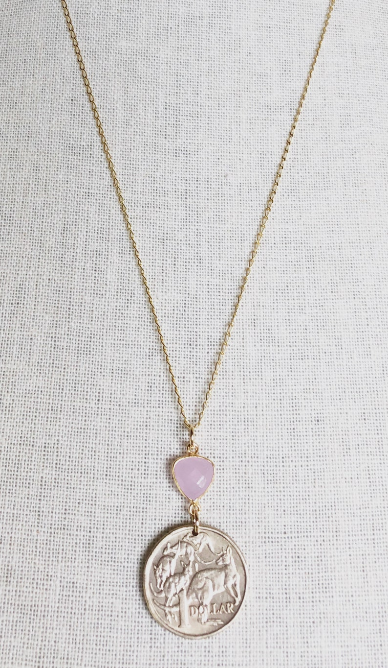 Kangaroos Queen Elizabeth II Vintage 1984 Australia 1 Dollar Coin with Rose Chalcedony on 16\u201d 14K Gold Plated Sterling Silver Necklace