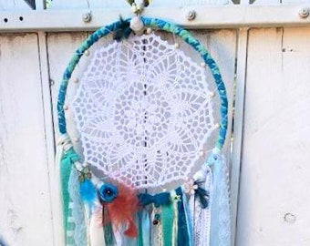 Dream Catcher Vintage Ribbon Sea Green Ocean Blue Jeevika Bohemian with Beads, Feathers & Bells