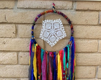 Dream Catcher Bohemian Recycled Yarn from Nepal Charusmita Beautiful Smile