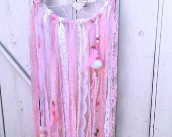 Dream Catcher Pink Petal Dreams Pankhuri Bohemain with Beads, Pom Poms, Feathers & Bells