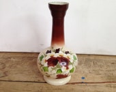 Vintage Cream and Brown Painted 60s 70sRetro Glass Tall Onion Shaped Vase Pretty Floral Handpainted Design In Good Condition