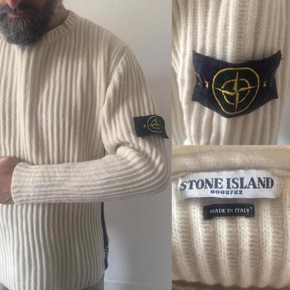 STONE ISLAND cream pullover 100% wool ribbed