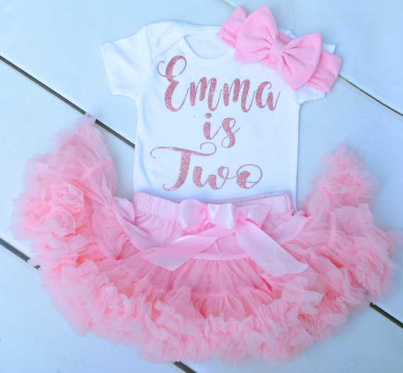 Luxury Girls 2nd Second Birthday Outfit Set Frilly Tutu Skirt Top Dusky Pink Rose Gold Headband Party UK Seller Two Cute
