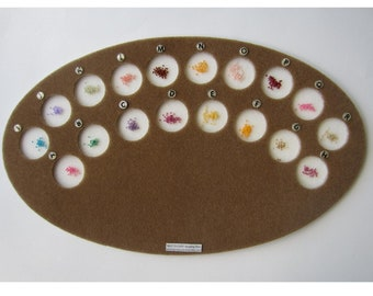 NEAT-O-CUPS  Bead Organizer With Top 1 Cups Work Space at The Bottom Pink and Ivory Each Color One Cup! 24 Cups Beading Mat Lettered A-X