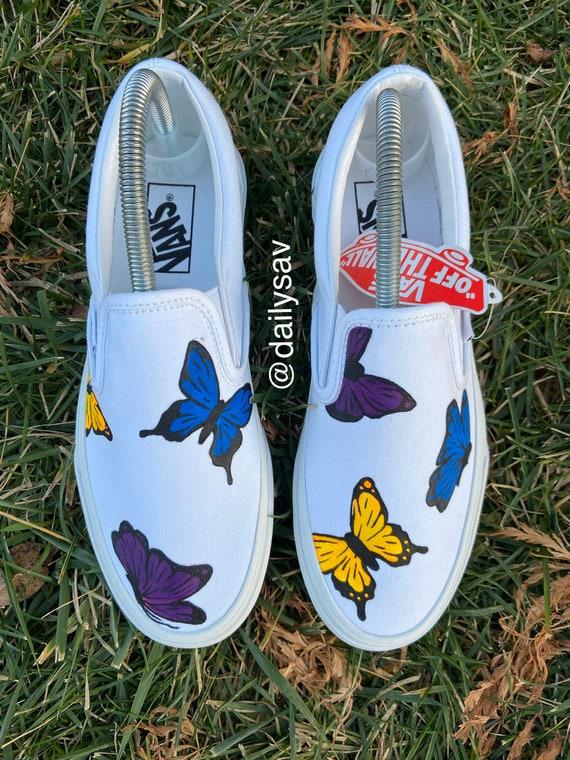 Butterfly Vans Slip On Custom Hand