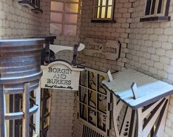 Knockturn Alley Themed Book Nook Shelf Insert - DIY Alley Book Nook Kit - Book Shelf Decor - Home Decor - Diorama