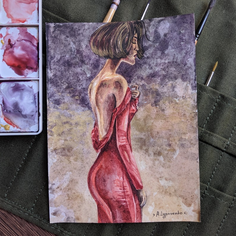 A girl in a red dress with the naked back Golden background Watercolor original painting of a pretty girl 100/% cotton paper