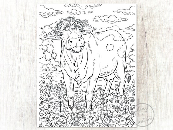 Cow Coloring Page Printable Coloring Page Adult Coloring Etsy