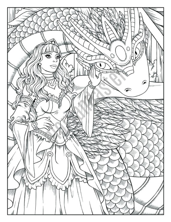 Dragon Princess Coloring Page Printable Adult Coloring Page Etsy
