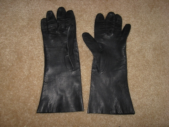 Vintage elegant gloves, soft Dark Blue leather glo