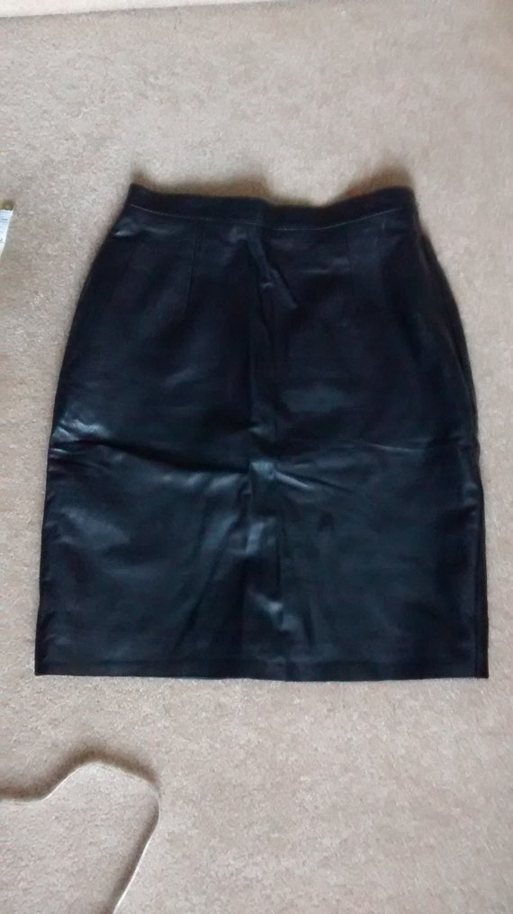Vintage Black Leather skirt, High Waisted Skirt ,