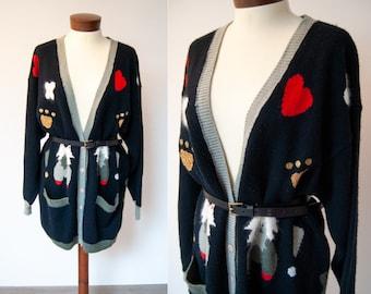 Vintage embroidered cardigan, vintage black cardigan, vintage sweater, 90s vintage cardigan, vintage knitted cardigan, 90s sweater
