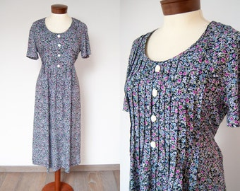 Free Postage Vintage Dress by St Michael in Blue /& Gold Floral Size 12 Excellent Condition 1990s Reduced International Postage