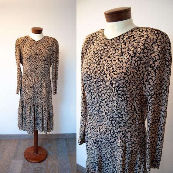 80s silk dress, 1980s dress, 80s floral dress, spr