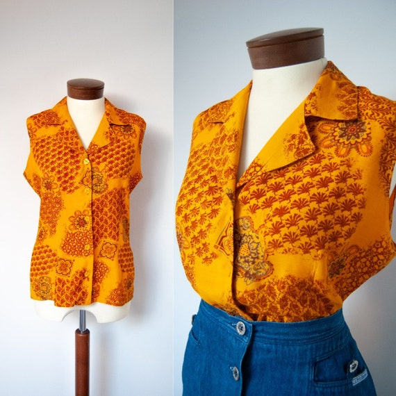 80s shirt, 1980s shirt, orange shirt, printed shir
