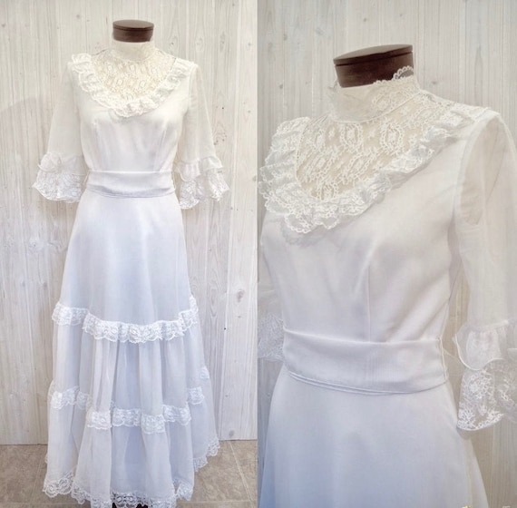 Vintage wedding dress, 70s wedding dress, seventie